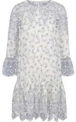 Ganni Gathered Printed Broderie Anglaise Mini Dress