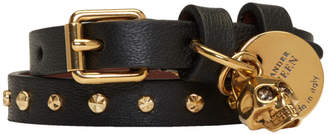 Alexander McQueen Black and Gold Studded Skull Double Wrap Bracelet