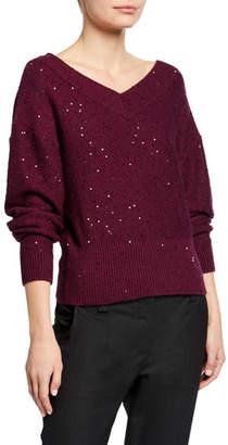 Brunello Cucinelli Paillette Double V-Neck Shorter Bodied Cashmere/Silk Sweater