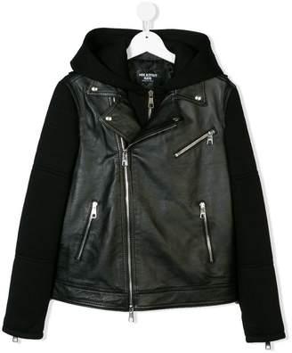 Neil Barrett Kids TEEN hooded leather jacket