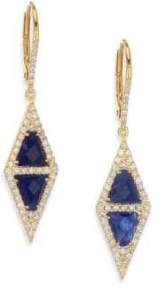 Meira T Pave Diamond, Blue Sapphire, Silver& 14K Yellow Gold Drop Earrings