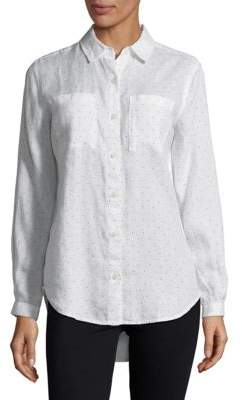 Lord & Taylor Petite Mini Dot Linen Button-Down Shirt