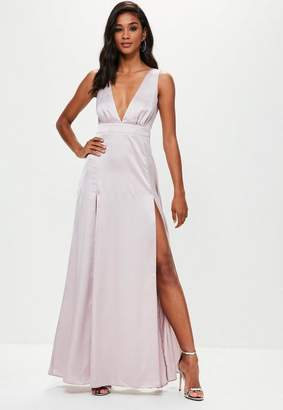Missguided Gray Plunge Double Split Front Satin Maxi Dress