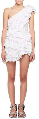 Isabel Marant Zeller One-Shoulder Tiered Ruffle Crochet Lace Mini Dress