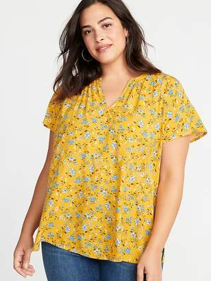 Old Navy Printed Split-Neck Cocoon Plus-Size Blouse