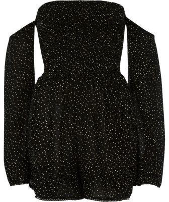 River IslandRiver Island Womens Black polka dot print bardot playsuit