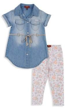 7 For All Mankind Little Girl's Denim Dress & Legging Set