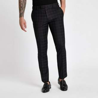 River Island Mens Black and burgundy check skinny suit pants
