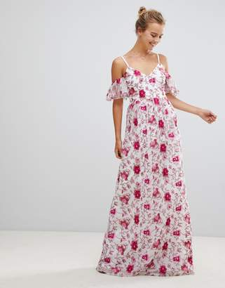 Little Mistress Printed Lace Maxi Dress