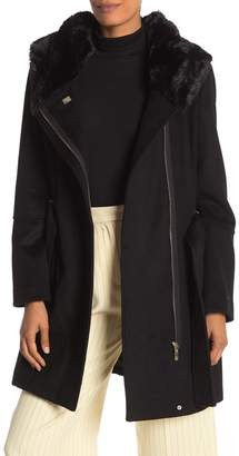 Calvin Klein Outerwear Belted Faux Fur Hooded Jacket