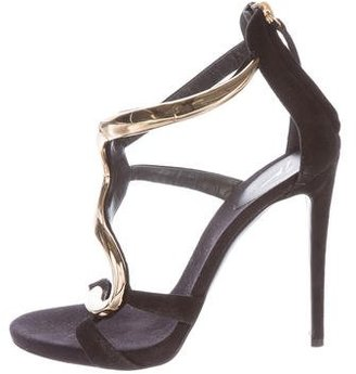 Giuseppe Zanotti Suede Embellished Sandals $395 thestylecure.com
