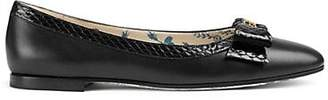 Gucci Women's Bow-Embellished Leather & Snakeskin Flats - Black
