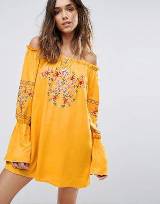 boohoo Floral Embroidered Bardot Dress