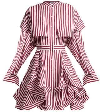 Alexander Mcqueen - Ruffled Striped Cotton Poplin Mini Dress - Womens - Burgundy Stripe