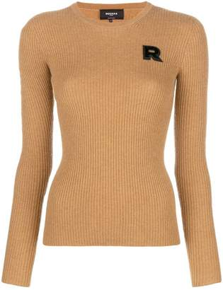 Rochas logo patch fitted sweater