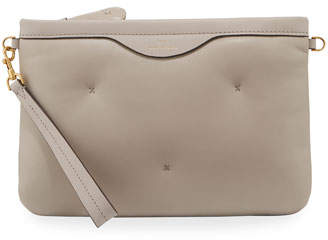 Anya Hindmarch Chubby Crossbody Leather Pouch-on-Strap, Light Gray