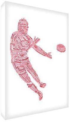 Camilla And Marc Feel Good Art Gallery Wrapped Box Canvas in Typographic Rugby Player Design (30 x 20 x 4 cm, Small, Red Tones)