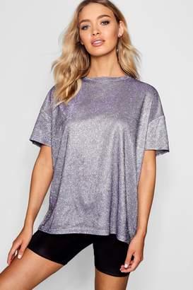 boohoo Metallic Oversized T-Shirt