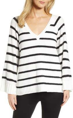 &.Layered Stripe V-Neck Sweater