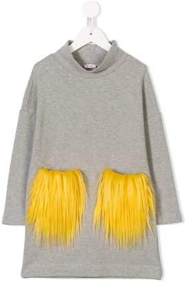 Il Gufo fur pockets sweatshirt dress