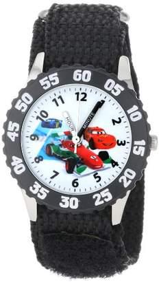Disney Kids' W001033 Cars Stainless Steel Time Teacher Black Bezel Black Nylon Strap Watch