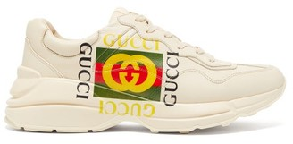 Gucci Rhyton Logo Print Low Top Leather Trainers - Mens - White Multi
