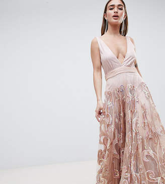 A Star Is Born Petite A Star is Born Petite Prom Embellished Maxi Dress in Iridescent Sequins
