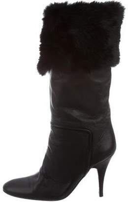 Giuseppe Zanotti Fur-Trimmed Mid-Calf Boots
