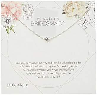Dogeared Will You Be My Bridesmaid Flower Card Pave Sparkle Ball Chain Necklace