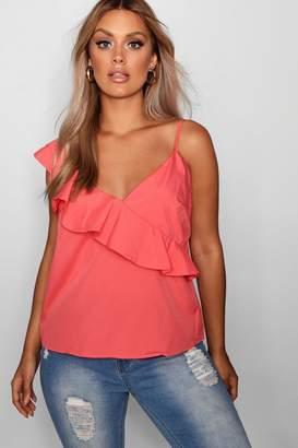 boohoo Plus Annie Ruffle Front Tie Sleeve Cami Top