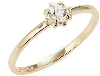 clear Jac + Jo COG 14K Gold and Topaz Micro Solitaire Ring