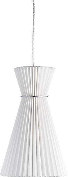 Crate & Barrel Pleat White Megaphone Pendant Lamp