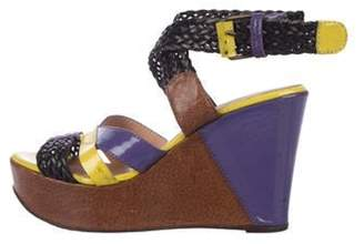Jean Paul Gaultier Patent Leather Wedge Sandals Purple Patent Leather Wedge Sandals