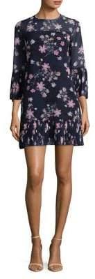 Eliza J Long-Sleeve Floral Pleated Dress