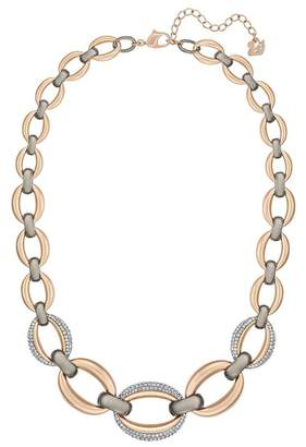 Swarovski Circlet Two-Tone Crystal Embellished Gourmette Chain Necklace