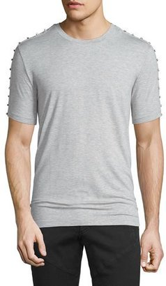 Versace Collection Studded Crewneck Short-Sleeve T-Shirt, Heather Gray $345 thestylecure.com