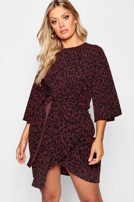 boohoo Plus Leopard Kimono Tie Waist Wrap Dress