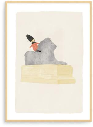 Trafalgar Born Lucky London Square Lion Illustration Art Print