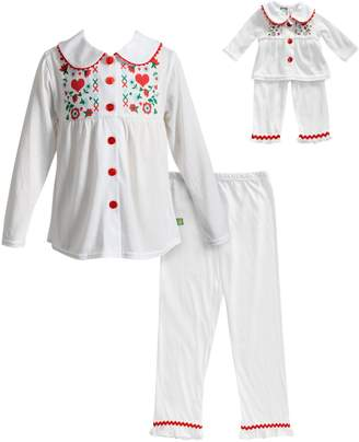 Dollie & Me Girls 4-14 Button Front Top & Bottoms Pajama Set