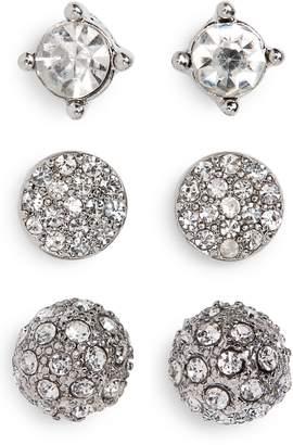 BP 3-Pack Crystal Stud Earrings