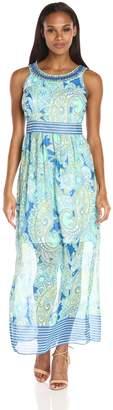 Sandra Darren Women's Sleeveless Printed Chiffon Neckalce Maxi Dress