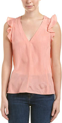 Rebecca Taylor Ruffled Silk V-Neck Top