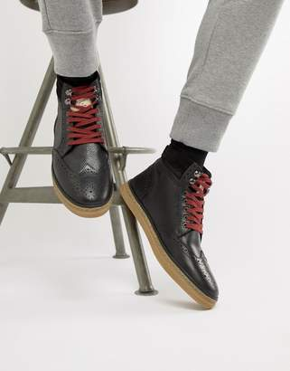 Original Penguin Leather Brogue Boots in Black