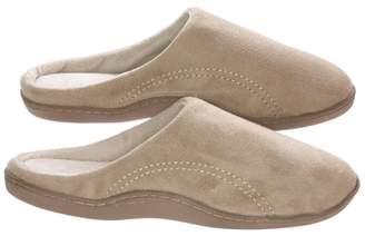 BEIGE Deluxe Comfort Men's Indoor/Outdoor Slip-On Microsuede Memory Foam House Slippers, Size 9-10 Double-Side Stitched Microsuede Exterior Comfy Plush Micro Fleece Lining Durable Non-Marking Rubber Sole,