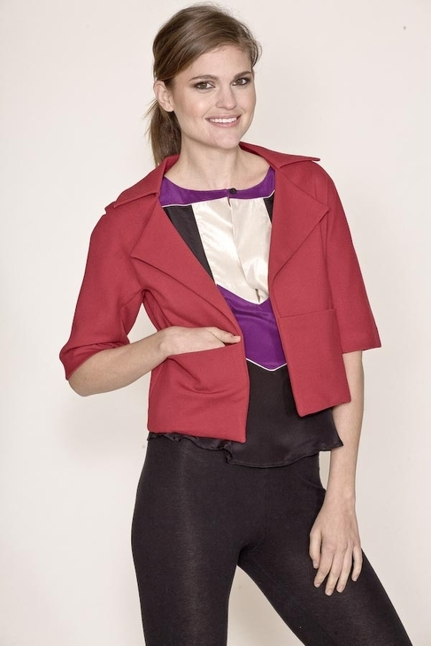 Corey Lynn Calter Kaitlin Cropped Jacket in Ruby
