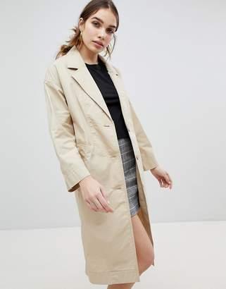 Monki Button Front Lightweight Coat