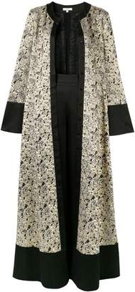 LAYEUR flared jacquard maxi dress