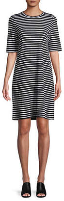 Eileen Fisher Striped Linen T-Shirt Dress