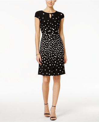 Tahari ASL Keyhole Dot Jersey A Line Dress $128 thestylecure.com