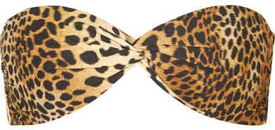 Lyon Leopard-print Bandeau Bikini Top - Tan